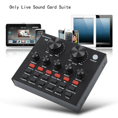 V8 External Sound Card USB Interface Audio Live Broadcast Microphone Mixer UK • 18.45£