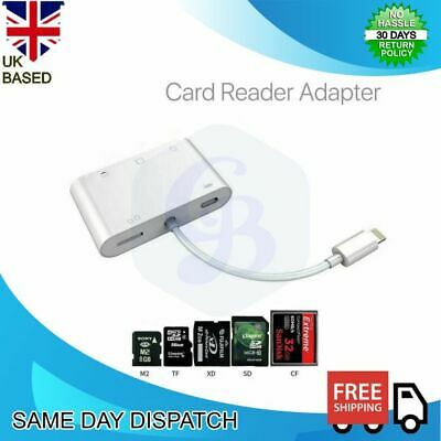 IOS IPad IPhone 12 8Pin To SD CF TF XD M2Card 5in1 Camera Reader Adapter Cable • 11.68£