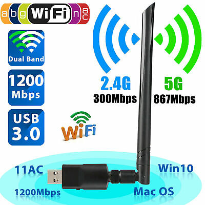 1200Mbps Wireless Network USB WiFi Dongle Adapter For Laptop Desktop PC Antenna • 9.69£