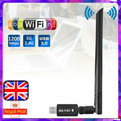 1200Mbps USB WiFi Dongle 2.4GHz Adapter Antenna Wireless Network For Laptop PC • 9.89£