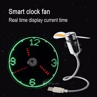 Adjustable USB Computer Flexible Table/Desk OFFICE FAN LED Clock Time Fan • 7.90£