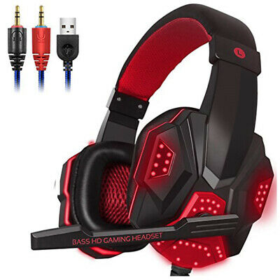 Gaming Headset USB Wired LED Headphones Stereo With Mic For PC Computer Laptop • 14.85£