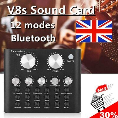 V8 External Sound Card USB Interface Audio Live Broadcast Microphone Mixer Black • 15.99£