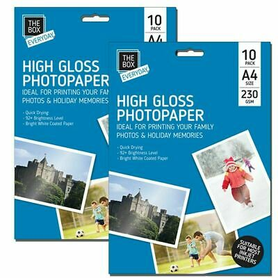 20 Sheets Premium Glossy High Gloss Photo Paper A4 Inkjet Printer230GSM Picture • 2.80£