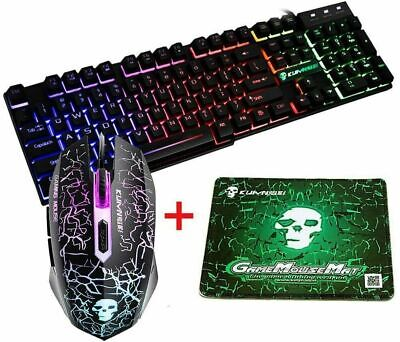 Rainbow T6 Backlight USB Wired Gaming Keyboard And Mouse Set For PC Laptop • 13.99£