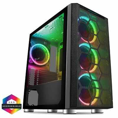 CIT Air Mesh Micro ATX Gaming PC Case MATX 4x RGB LED Fans Tempered Glass • 64.74£