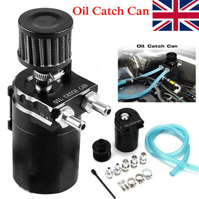 300ML Oil Catch Breather Can Baffled Aluminum Reservoir Tank With Filter Black • 14.98£