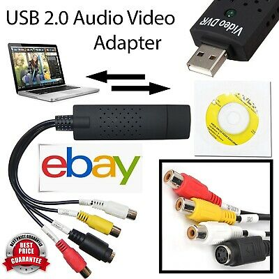 USB 2.0 Audio TV Video VHS To PC DVD VCR Converter Easy Capture Card Adapter UK • 5.89£