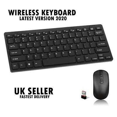 Slim 2.4G Wireless Keyboard And Cordless Optical Mouse Combo For PC  -UK SELLER- • 12.99£