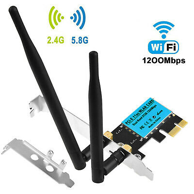 Wireless 1200Mbps PCI-E WiFi Card 2.4/5GHz Dual Band Network Adapter Desktop UK • 14.49£