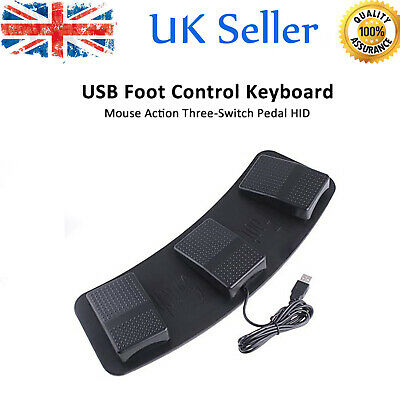 USB Triple Action Foot Switch Keyboard Control Foot Pedal For Playing Games UK • 26.99£