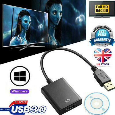 USB 3.0 Male To HDMI Female Adapter Converter Cable For Windows HD 1080P • 8.39£