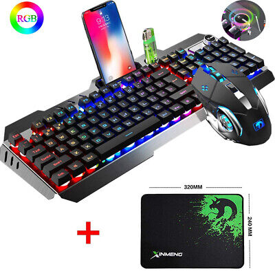 Pro Gaming Keyboard And Mouse Set Rainbow LED Wired USB For PC Laptop PS4 Xbox • 26.89£