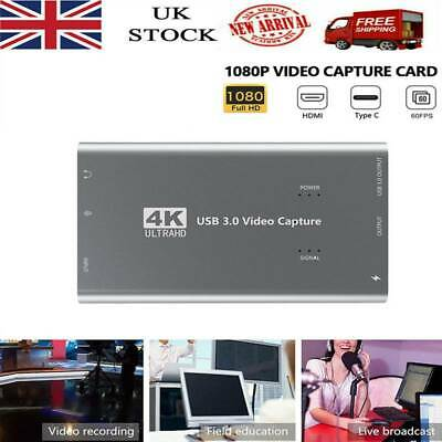 1080P 4K HD 60fps HDMI Video Capture Card USB 3.0 Mic Game Record Live Streaming • 32.29£