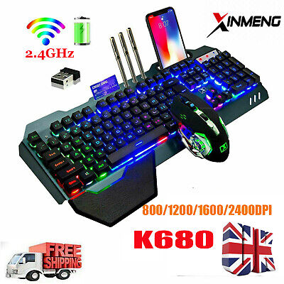 Wireless Keyboard And Mouse Rainbow LED Backlit Rechargeable For PS4 PC Gamer  • 37.59£