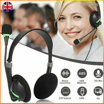 USB Headset With Microphone Noise Cancelling Headphones For PC Chat Call UK • 6.69£