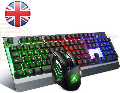 Gaming Keyboard And Mouse Set Rainbow LED USB Illuminated For PC Laptop PS4 Xbox • 11.99£