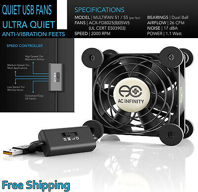 AC Infinity MULTIFAN S3, Quiet 120mm USB Fan, UL-Certified For Receiver DVR • 14.40£
