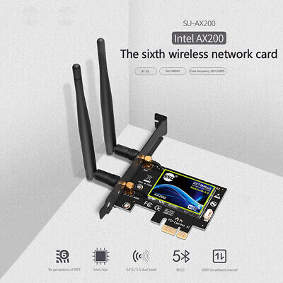 PCI-E Wifi 6 Adapter Desktop Wireless 3000Mbps Bluetooth 5.0 AX200NGW Wifi Card • 23.99£