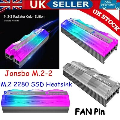 Jonsbo M.2-2 Colorful Lighting M.2 2280 SSD Heatsink Cooler FAN Pin Cooling Pad • 8.99£