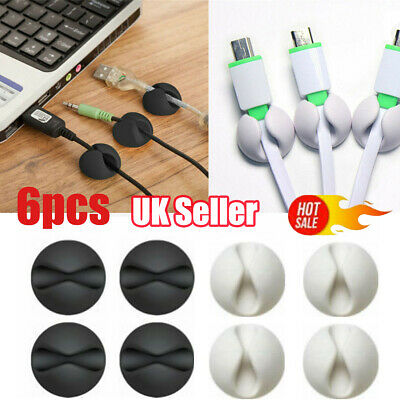 6x White Cable Wire Cord Lead Drop Clips Usb Charger Holder Tidy Desk Organiser~ • 2.72£