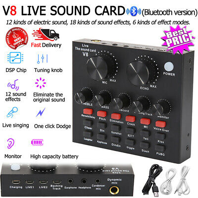 V8 External USB Live Sound Card Microphone Mixer For PC Phone Webcast Broadcast • 18.32£