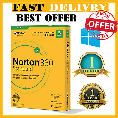 Norton 360 Standard Antivirus 2020 ✅1 Devices 1 Year ✅ Worldwide License 🔑 • 9.99£