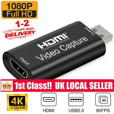 HDMI Video Capture Card USB 2.0/1080p HD Recorder For Video Live Streaming/Game • 7.99£