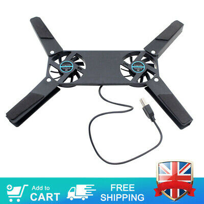 Folding Laptop Desk Stand Dual Cooling Fan Holder Support For Notebook Computer • 4.99£
