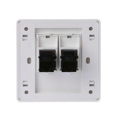 2Ports CAT5 RJ45 Network Wall Plate With Female To Female Connector Socket Panel • 3.48£