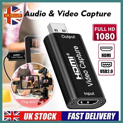HDMI To USB 2.0 Video Capture Card 4K HD Recorder For Video Live Streaming • 15.99£