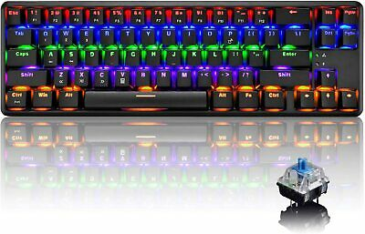 60% Mechanical Gaming Computer Keyboard Rainbow LED Backlit Wired Type C 68 Keys • 33.89£