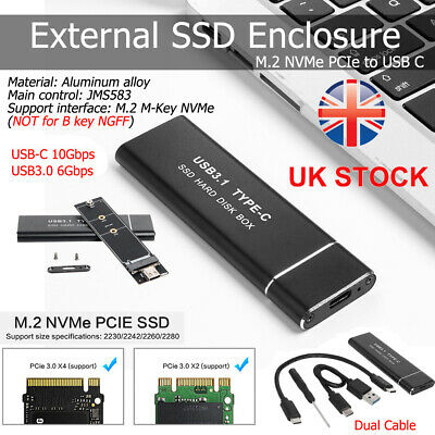 10Gbps M.2 NVMe M Key To USB3.1 Type-C GEN2 External SSD Enclosure Adapter Case • 15.29£
