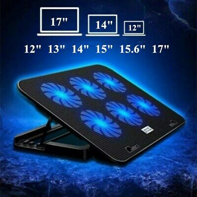 6 Powerful Fan Laptop Cooling Pad Quiet Gaming Cooler Mat Stand For 12-17  Inch  • 12.59£