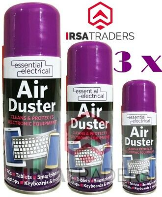 3 X Air Duster Can Spray Compressed Aerosol Cans Cleans Protects Keyboards 200ml • 6.99£