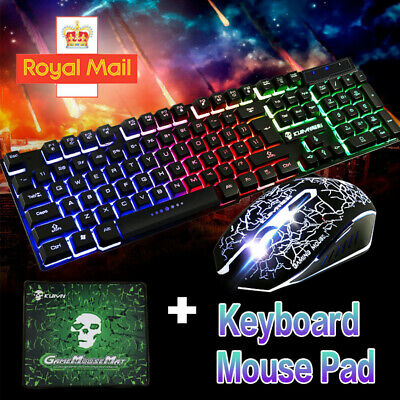 Gaming Keyboard And Mouse Set Rainbow LED Wired USB For PC PS4 Xbox One And 360 • 10.88£