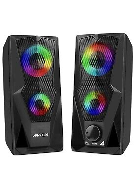 PC Speakers, ARCHEER 10W Enhanced Stereo Speaker With Colorful LED Light • 32.99£