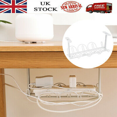 Under Desk Table Storage Cable Wire Cord Power Charger Management Organizer Tray • 6.98£