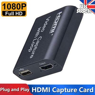 UK 4K HDMI To USB2.0 Capture Card Game Live Streaming Loop Video Recording Box • 12.39£