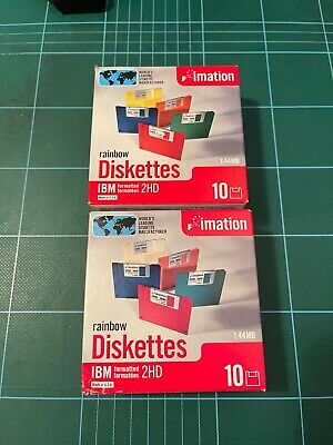20 IMATION IBM RAINBOW DISKETTES – 2 X 10 PACK IN NEW SEALED BOXES • 5.75£