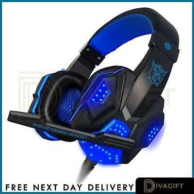 Gaming Headset For Xbox One PS4 PS5 Nintendo Switch PC 3.5mm Mic Headphones LED • 16.99£