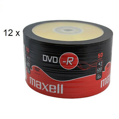 MAXELL DVD-R Blank Recordable Digital Disc DVDR 4.7GB 16x SPEED 120min 50 Pk X12 • 84.99£