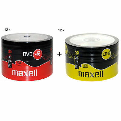 MAXELL 50Pk DVD-R And CD-R Blank Recordable Disc CDs CDR DVDR 12 Pack's Of Each • 149.29£