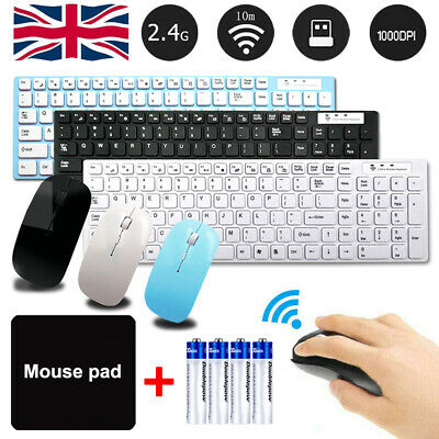 Wireless Keyboard And Mouse Combo Set Ultra Slim 2.4GHz Kit USB Receiver For PC • 13.49£